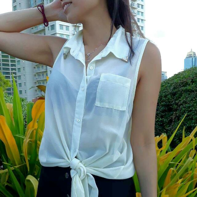 White Tie Top Blouse