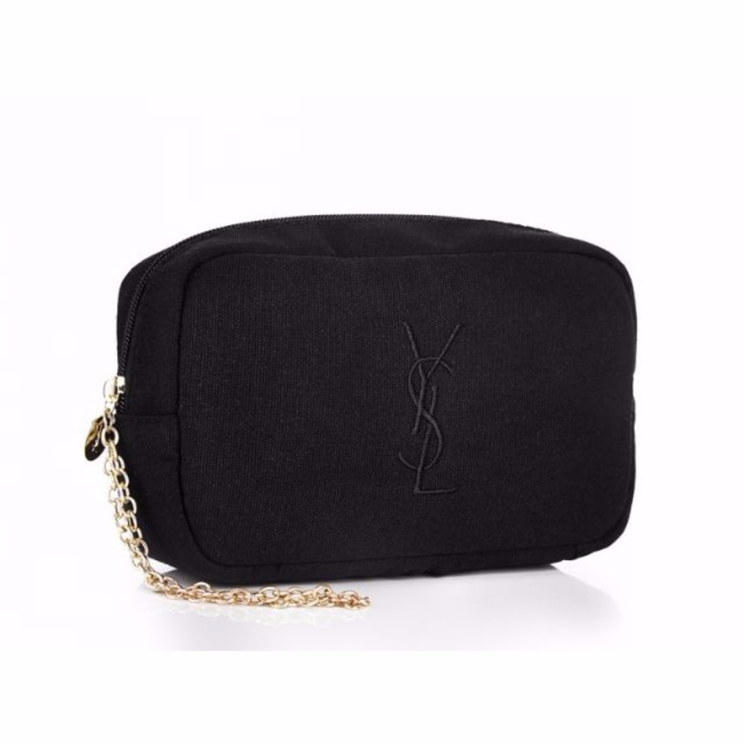 24eb10b98f8 YSL - Black Cosmetic Pouch with Gold Chain, Women's Fashion, Bags ...