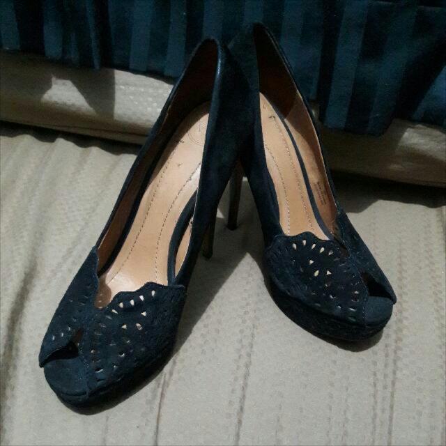 ZARA Black Suede Heels 9cm Size 39
