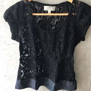 Black Lace Cap Sleeve Top From Anthropologie (Size 2)