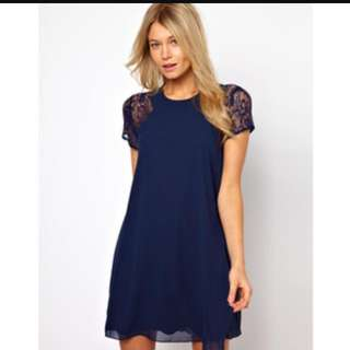 ASOS Exclusive LOVE Swing Dress With Lace Insert Size S Navy