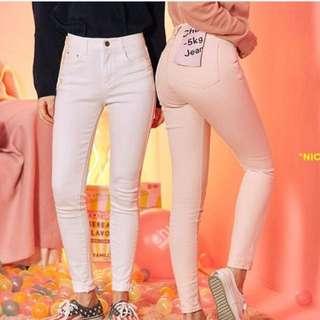 CHUU -5KG July牛仔褲(淺粉紅色)