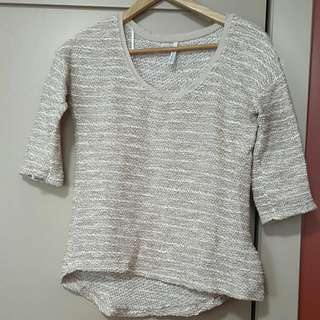 Beige 1/4 Sleeve Shirt