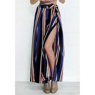 Belted Striped Palazzo With Slit