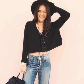 Lace Up Knit Sweater (Black)
