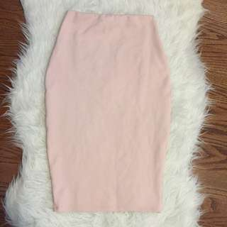 Missguided Pale Pink Pencil Skirt