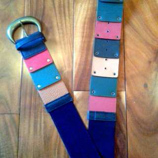 Hand Made Genuine Coloured Leather Wide Belt From Argentina
