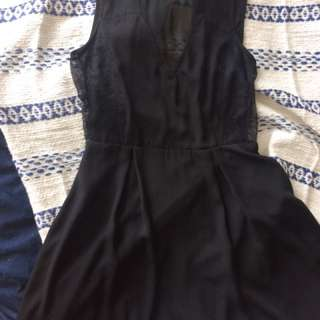 Black Dress With Lace And Mesh Panels - Small