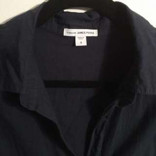 Standard James Perse Contrast Panel Shirt - Black