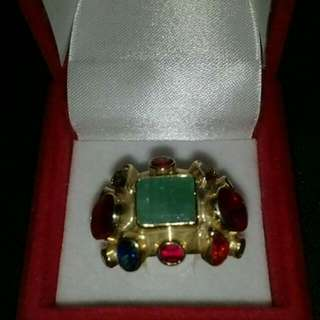 18k Gold Ring And Pendant With emerald