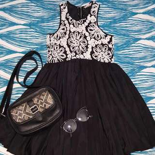 Black And White Flowy Dress
