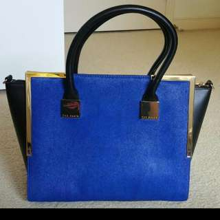 Ted Baker Leather Metal Corner Tote Bag In Bright Blue