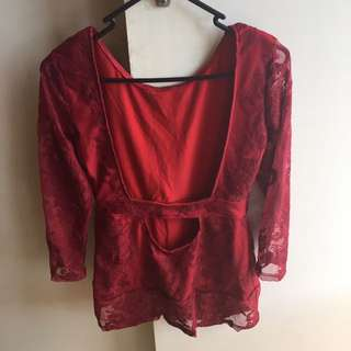 Wine Red Lace Dress Top