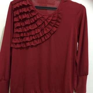 Kaos Lengan Panjang Warna Merah Maroon