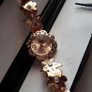 Reprice Jam Tangan Cantik Kupu2 GOLD