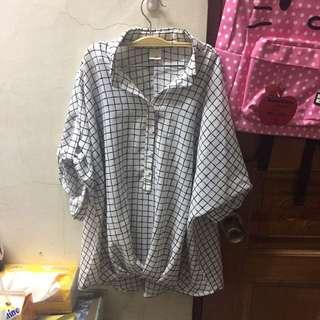 寬版寬袖格子雪紡襯衫