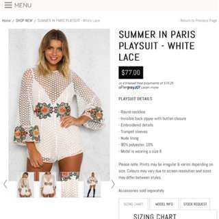 *PRICE DROP* SOLD OUT ONLINE SUMMER IN PARIS PLAYSUIT