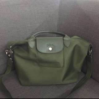Auth longchamp neo army green msh