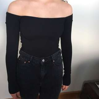 Topshop Off The Shoulder Knitted Top
