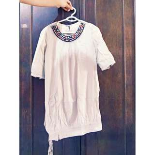 Grey Dress With Beaded Neckline Size M-L Php 150