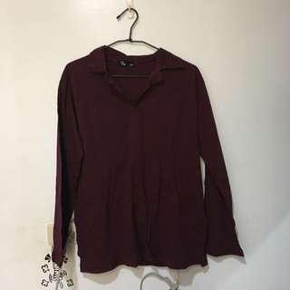 酒紅polo衫