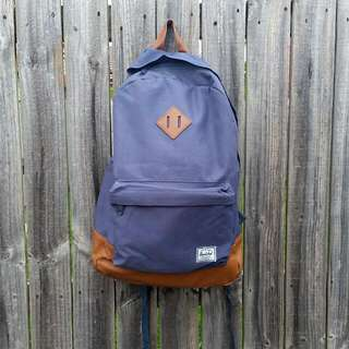 Authentic Herschel Heritage Backpack Navy And Tan With Stripe Interior