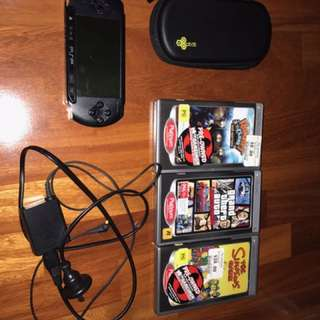 PSP With Charger, Case And 3 Games