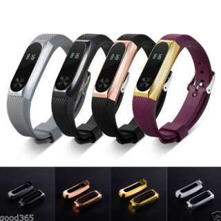 (NEW) Miband 2 Strap with Metal Frame Strap *Free Screen Protecter*