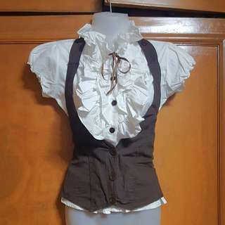 Ruffle Blouse with Vest