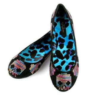 艾薇兒愛牌 Iron Fist 龐克搖滾彩色亮片骷髏頭黑色平底鞋/娃娃鞋(豹紋內裡)