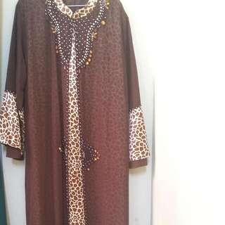 Brown Floral Luxury Abaya Sufina XL