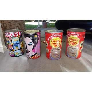 PRICE DROP!! - 4 x Chupa Chups tin buckets