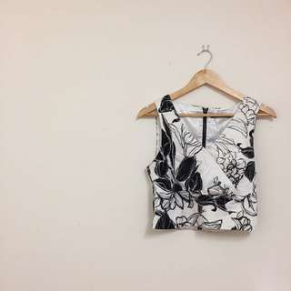 Cross Front B&W Floral Crop