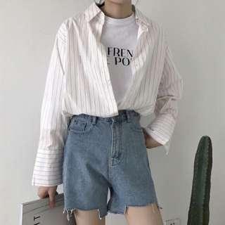 牛仔短褲 寬鬆 不規則 韓版