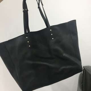 Zara black faux leather tote bag