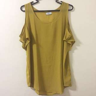 REPRICED! Rue 202   Mustard Off Shoulder Top With Sleeves