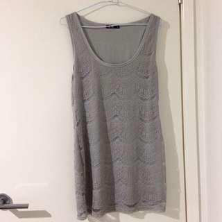Chicabooti Grey Lace Sleeveless Dress