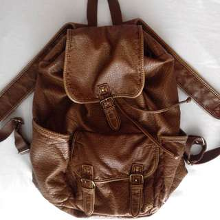 Imitation Leather Backpack