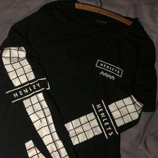 Henleys Long Sleeved Black & White Shirt