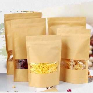 Kraft/Brown Paper Window Ziplock Bag