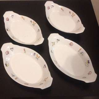 4 X Fine Porcelain Serving Dishes