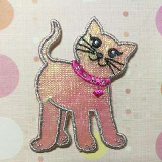 Iron On Patch/ Applique   ↪ Curious Pink Cat With Pink Necklace 🐈🐈  💱 $2.00 Each Piece