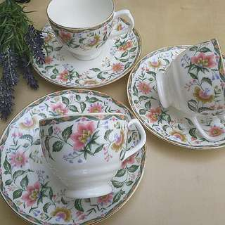 Ceramic floral cups and saucers