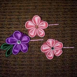 Kanzashi Flower Bobby Pins - Set Of 2