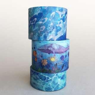 Pack of 3 - Deep Ocean Prints Washi Tape Bundle