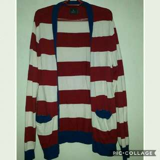 Long Stripe Knitted Cardigan