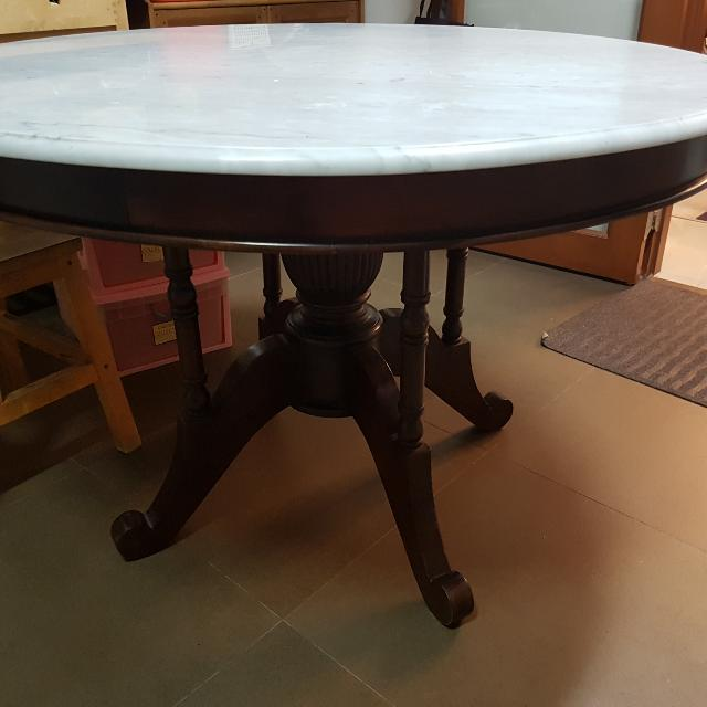 6 Seater Round Marble Dining Table Kopitiam Style Without Chairs Furniture Tables Chairs On Carousell