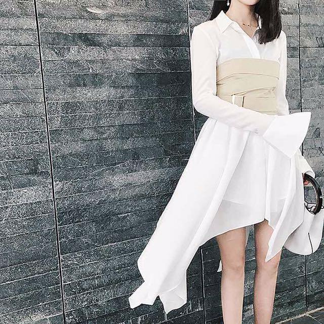 不規則裙擺襯衫連身裙