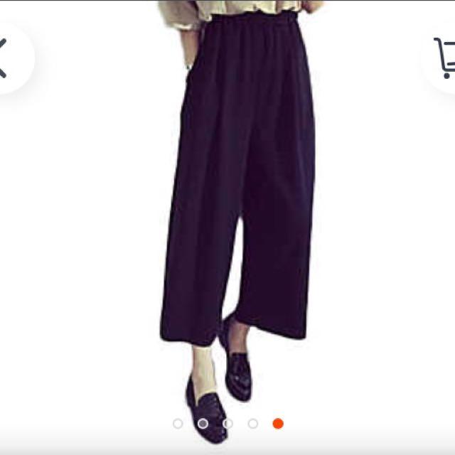 九分顯瘦黑色寬褲