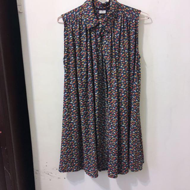 森綠碎花襯衫洋裝 #兩百元雪紡
